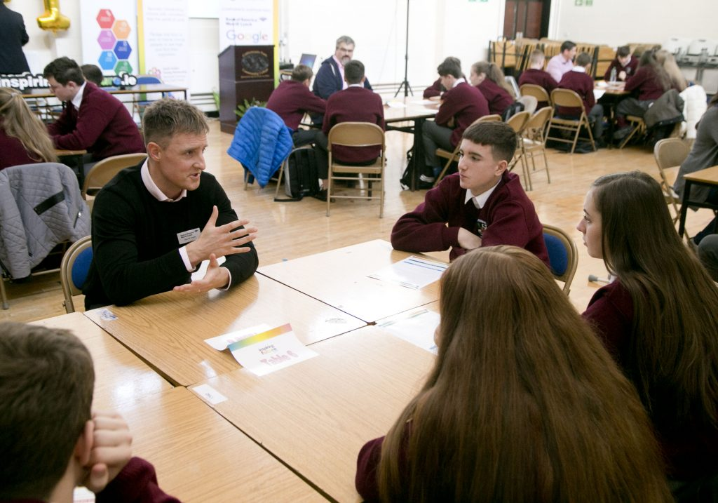 Inspiring the Future Ireland volunteer participating in career speed-networking with a class of South Dublin secondary school pupils.
